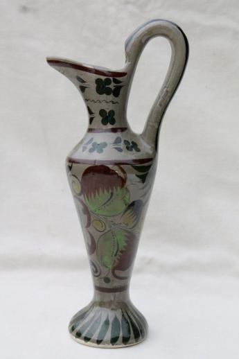 Hand Painted Tonala Style Pottery Pitcher Vase Vintage Mexican Art