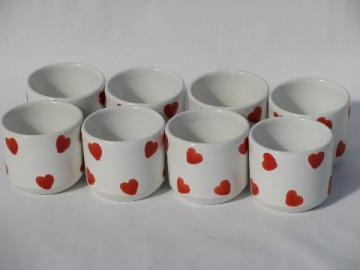 hand-painted Valentine red hearts, 8 Italian pottery votive candle holders