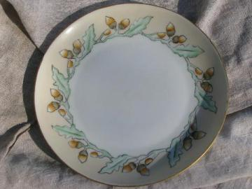 hand-painted acorns, signed arts and crafts vintage Bavaria china plate