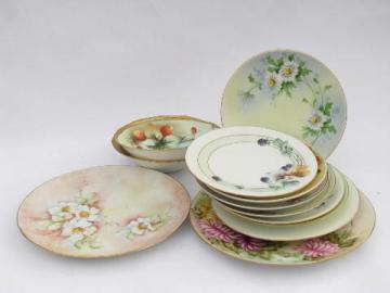 hand-painted antique porcelain, early 1900s vintage china plates lot, all flowers