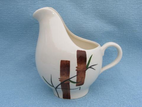 hand-painted bamboo cream pitcher, Stetson pottery American Heritage