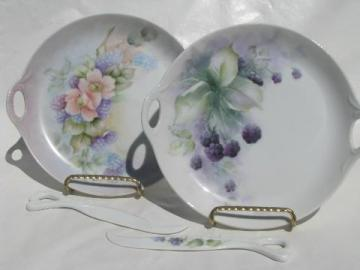 hand-painted blackberries china serving plates w/ cheese servers