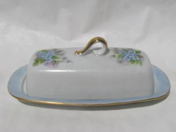hand-painted china covered butter dish, lovely blue forget-me-nots