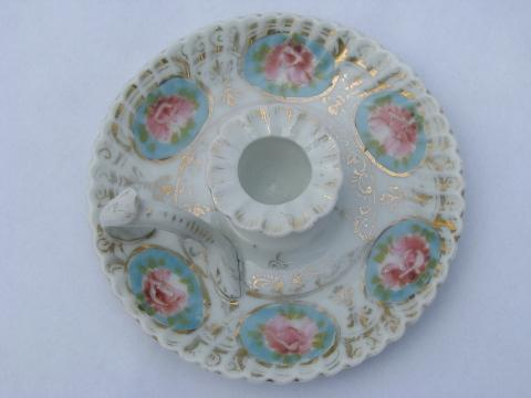 handpainted china finger ring chamber candlestick, antique candle holder