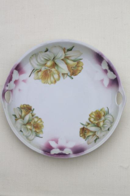 hand-painted china plate w/ yellow daffodils, antique vintage tray handles cake plate