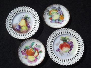 hand-painted china plates w/ fruit, vintage Japan wall hanger plaques