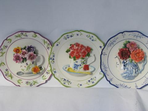 & hand-painted decorative ceramic wall hanger plates w/ china flowers