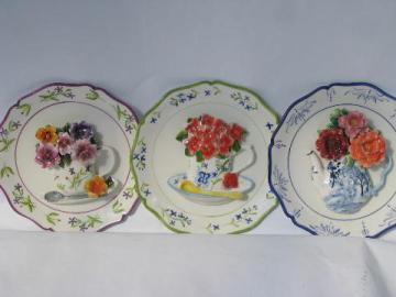 hand-painted decorative ceramic wall hanger plates w/ china flowers