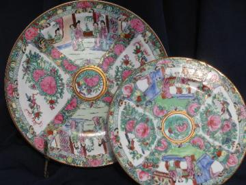 hand-painted famille rose Chinese porcelain, large charger and plate