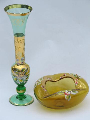 Hand Painted Flowers Gold Leaf Vintage Japan Art Glass Vase Etc