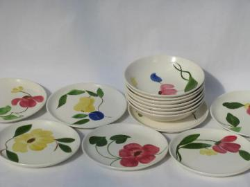 hand-painted fruit and flowers pottery dinnerware, bowls and plates lot, vintage Stetson