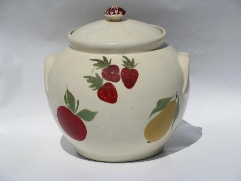 hand-painted fruit, large round pottery cookie jar, 1940s vintage