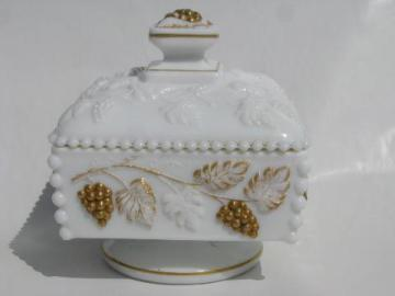hand-painted gold beaded grape square milk glass box, vintage Westmoreland