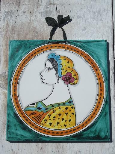 hand-painted lady portrait Italian pottery tile, 60s vintage Italy