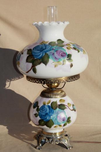 Hand Painted Milk Glass Gone With The Wind Lamp, Vintage Quoziel Hurricane  Lamp