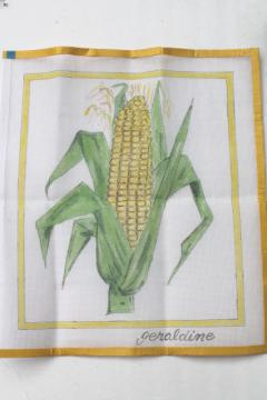 hand-painted needlepoint canvas, ear of sweet corn or farm field corn