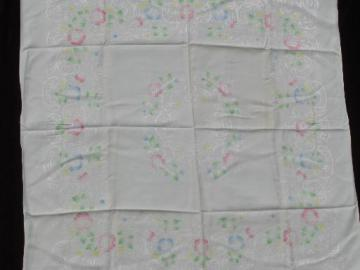 hand-painted pastel tinted flowers damask tablecloth, vintage rayon fabric