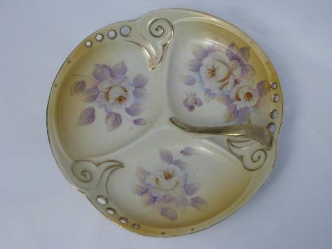 hand-painted roses porcelain, vintage divided bowl, china nappy w/ handle
