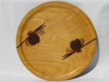 hand-painted round wood tray or charger, rustic north woods pinecones