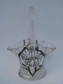 hand-painted silver deposit glass basket, vintage Niagara Falls souvenir