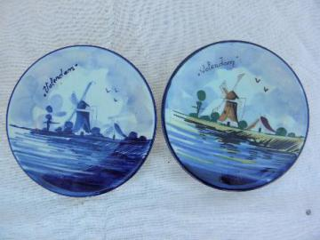 hand-painted vintage Delft pottery, Volendam Holland dutch scene plates