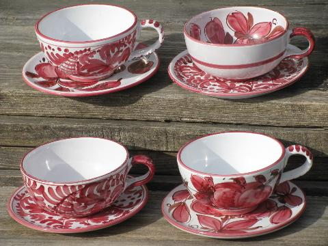 & hand-painted vintage Italian pottery plates and large soup cup bowls