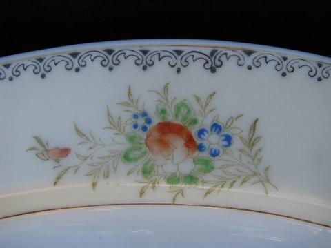 hand-painted vintage Japan china, service for 6 plates & bowls in two sizes