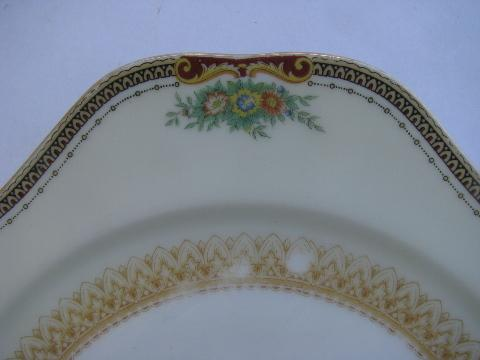 hand-painted vintage Made in Japan Meito China, six square salad plates