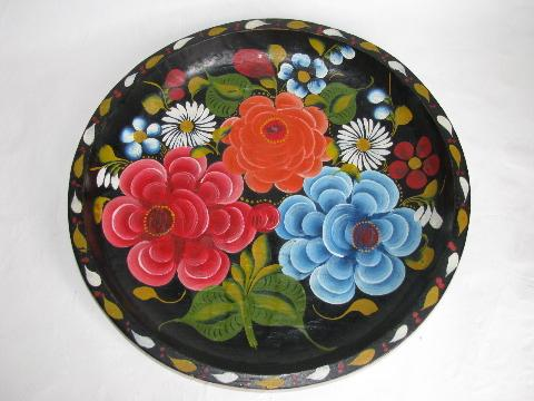 hand-painted vintage wood bowl, Mexico batea tray, flowers on black, 13 1/2'' diameter