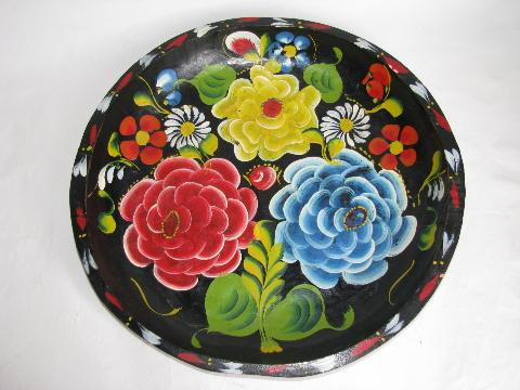 Hand Painted Vintage Wood Bowl Mexico Batea Tray Flowers