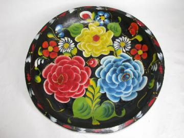 hand-painted vintage wood bowl, Mexico batea tray, flowers on black, 13'' diameter