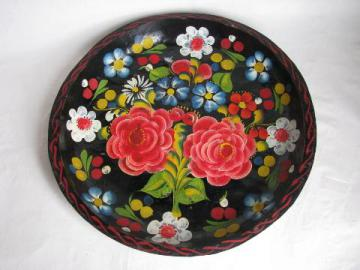 hand-painted vintage wood bowl, Mexico batea tray, flowers on black, 15'' diameter