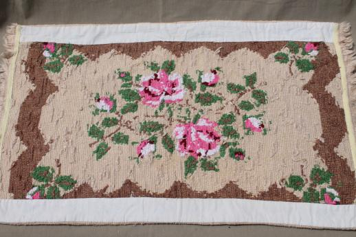 hand-stitched needlepoint rug, vintage pink roses throw rug, cottage chic