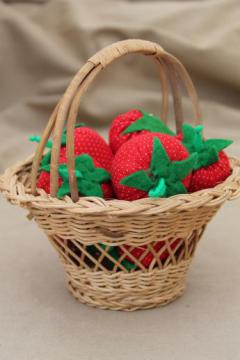 hand-stitched stuffed strawberries in wicker berry basket, folk art strawberry basket