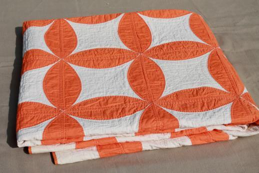 stitched vintage cotton quilt, circle star quilt in orange & white : orange quilt - Adamdwight.com