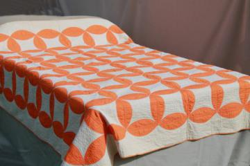 hand-stitched vintage cotton quilt, circle star quilt in orange & white