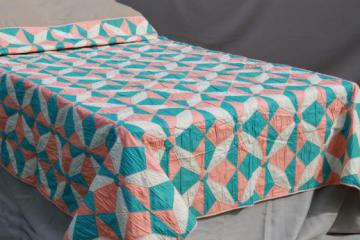 hand-stitched vintage cotton quilt, pinwheel star quilt in apricot & aqua