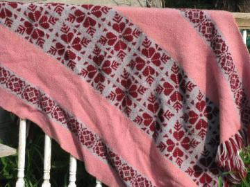 hand-woven & embroidered wool throw blanket, vintage weave-it afghan