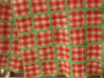 hand-woven ombre squares wool throw blanket, vintage weave-it afghan