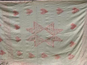 handwoven pure wool vintage bedspread bed cover, ivory w/ pink hearts