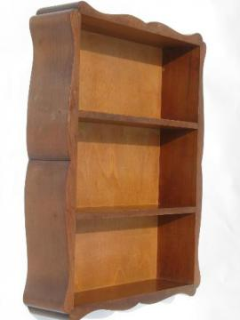 hardwood wall box hanging shelf, cottage whatnot shelves, 50s vintage