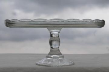harp pattern vintage despression glass cake stand, pedestal cake plate