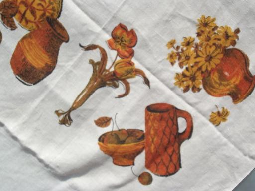 harvest kitchen vintage printed linen tablecloth, Califoria Hand Print?