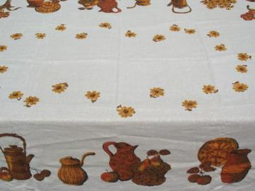 harvest kitchen vintage printed linen tablecloth, Califoria Hand Print?