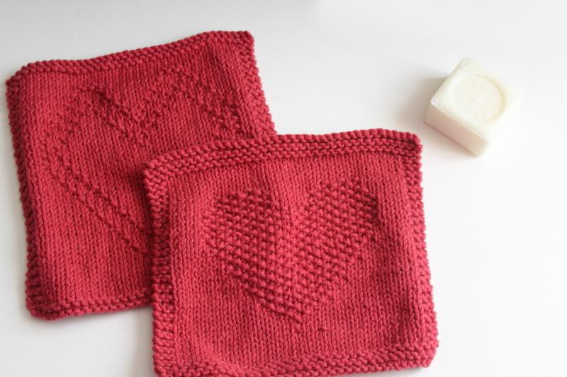 heart pattern hand knit barn red cotton yarn dish cloth wash cloths