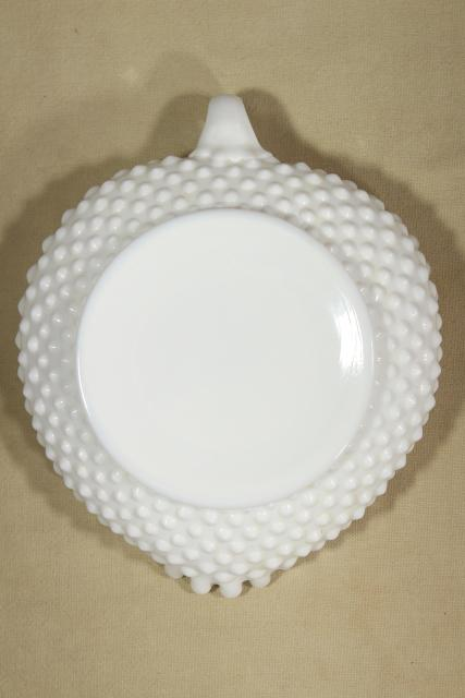 heart shaped nappy vintage Fenton hobnail milk glass, crimped candy dish or nut bowl