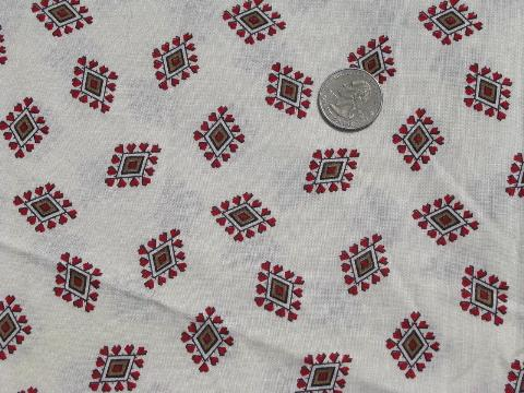 hearts and diamonds vintage cotton print fabric, quilting weight