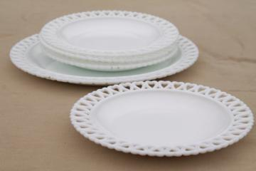 hearts border lace edge milk glass dessert set plates, vintage Westmoreland?