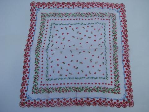 Hearts Border Printed Cotton Handkerchief Vintage Valentine Hanky