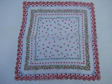 hearts border printed cotton handkerchief, vintage Valentine hanky